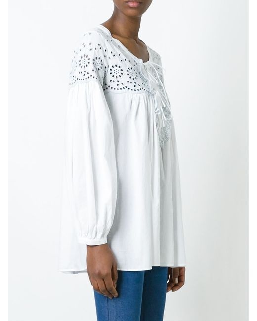 see by chlo broderie anglaise panel blouse in white. Black Bedroom Furniture Sets. Home Design Ideas