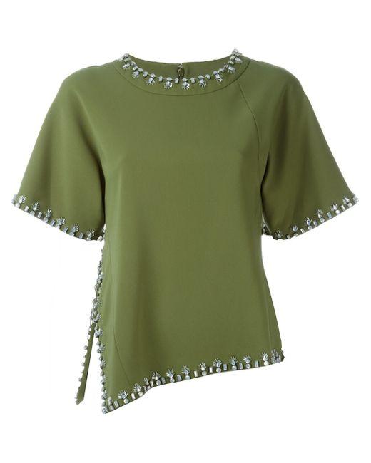 Tory burch embellished trim t shirt in green lyst for Tory burch t shirt