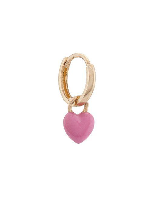 Alison Lou ハートドロップピアス 14kイエローゴールド Pink