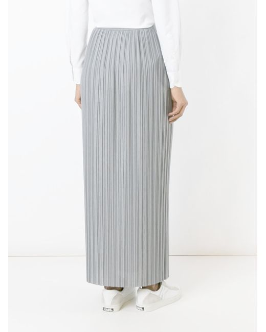theory pleated skirt in gray grey lyst