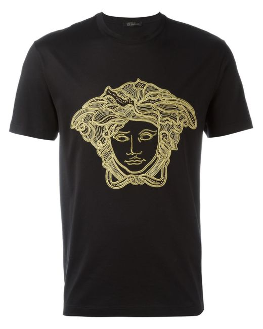 Versace Embroidered 'medusa Head' T-shirt in Black for Men ...