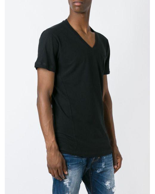 Dsquared pocket v neck t shirt in black for men lyst for Men s v neck pocket tee shirts