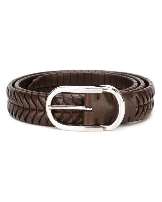 brunello cucinelli woven belt in brown for lyst