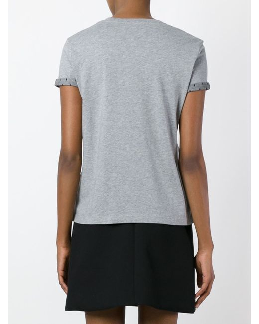 Red valentino head logo print t shirt in gray lyst for Red valentino t shirt