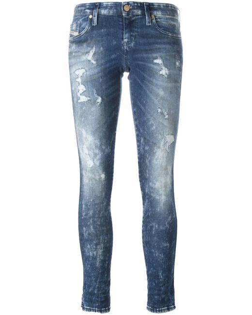 DIESEL | Black Distressed Skinny Jeans | Lyst