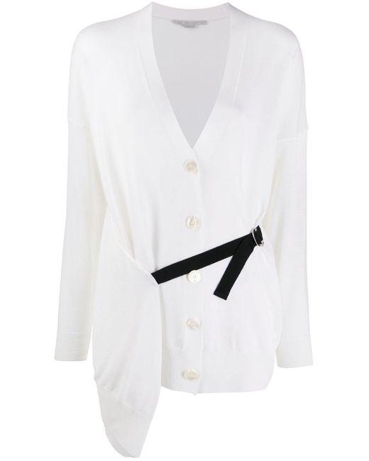 Stella McCartney White Wrap-style Buckle-strap Cardigan