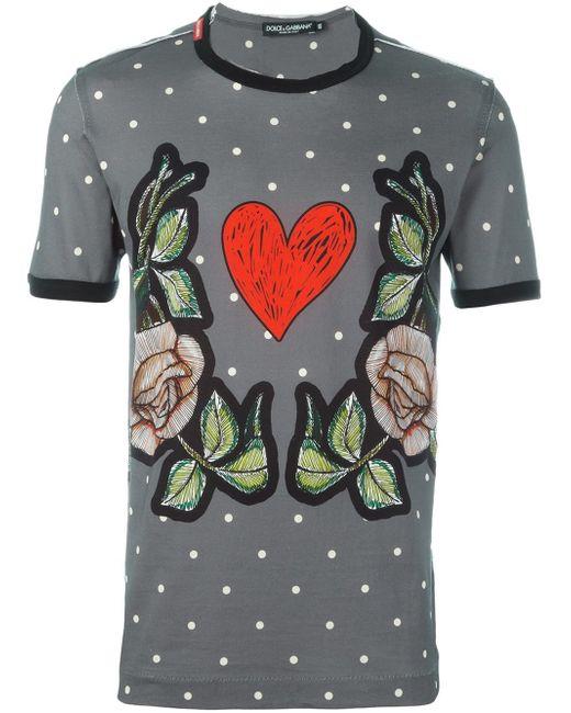 Dolce Gabbana Roses Heart Print T Shirt In Gray For