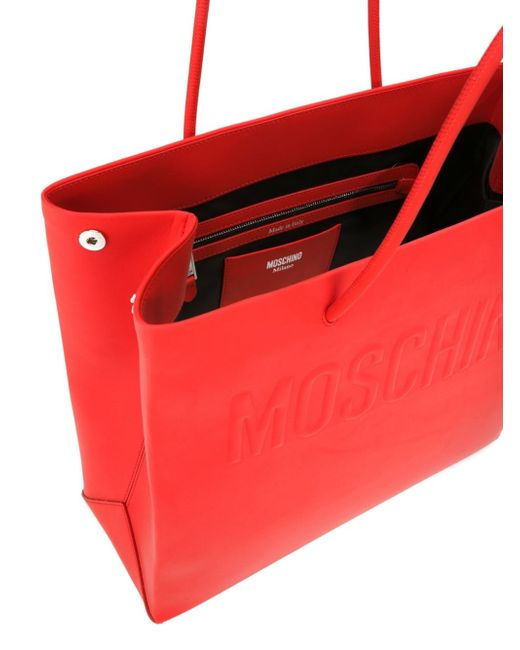 moschino logo embossed shopper tote in red lyst. Black Bedroom Furniture Sets. Home Design Ideas