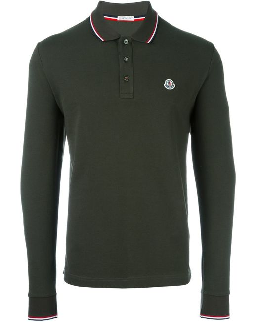 moncler long sleeve polo shirt in green for men lyst. Black Bedroom Furniture Sets. Home Design Ideas