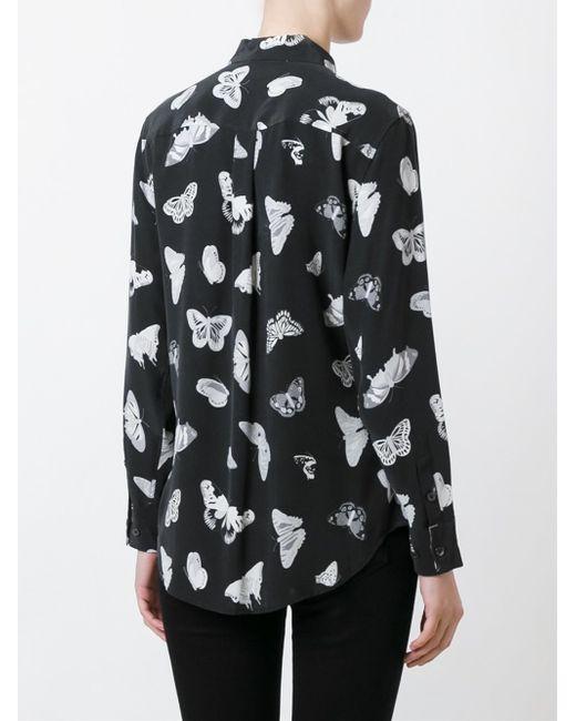 Equipment signature butterfly silk shirt in black save for Equipment black silk shirt