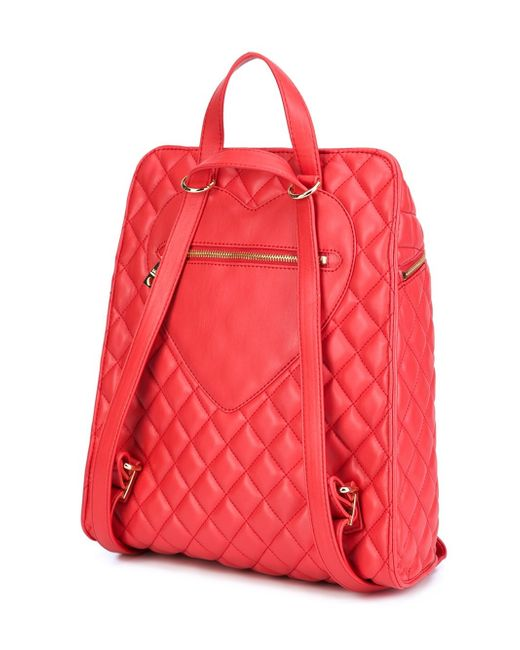 love moschino quilted backpack in red lyst. Black Bedroom Furniture Sets. Home Design Ideas