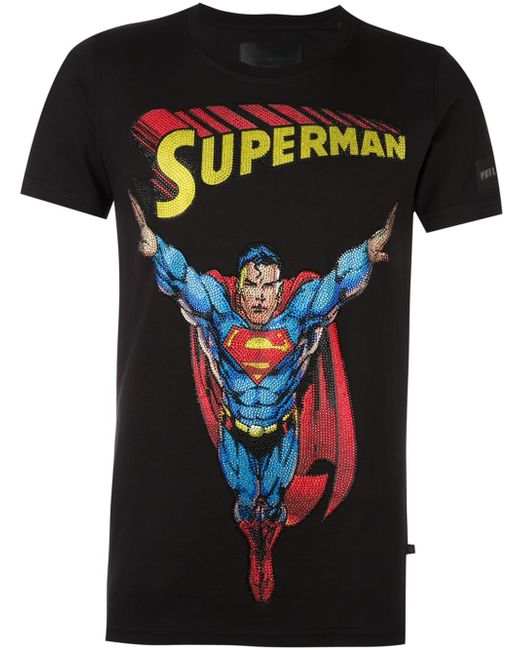 philipp plein 39 superman 39 t shirt in black for men lyst. Black Bedroom Furniture Sets. Home Design Ideas