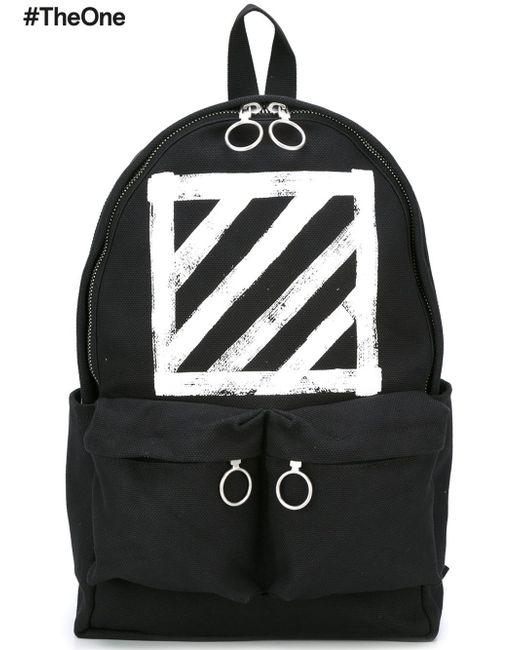 off white c o virgil abloh diagonal stripe print backpack. Black Bedroom Furniture Sets. Home Design Ideas