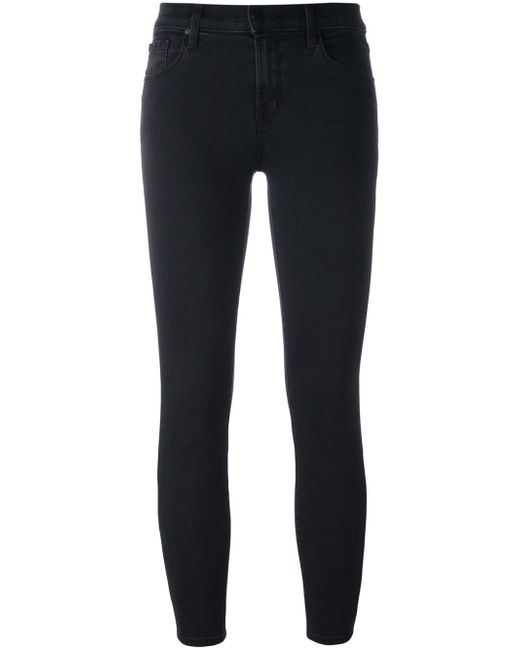 J Brand | Black Zipfront Midrise Skinny Jeans | Lyst