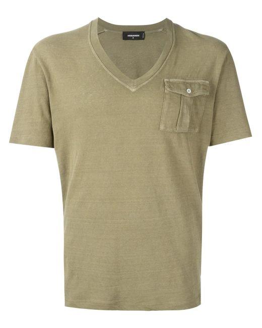 Dsquared flap pocket v neck t shirt in blue for men lyst for Men s v neck pocket tee shirts