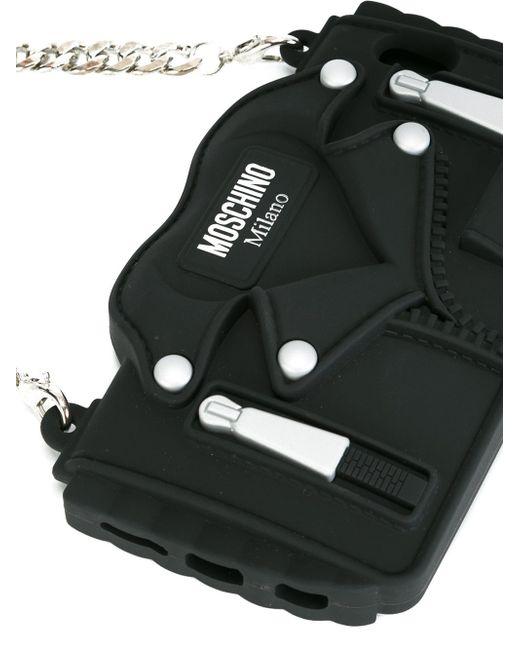 moschino biker jacket iphone 6 6s case in black lyst. Black Bedroom Furniture Sets. Home Design Ideas