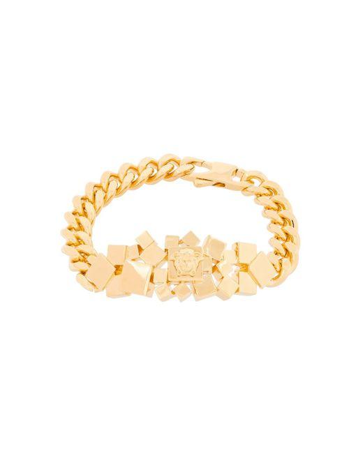 Versace | Metallic 'cubic Medusa' Curb Bracelet | Lyst