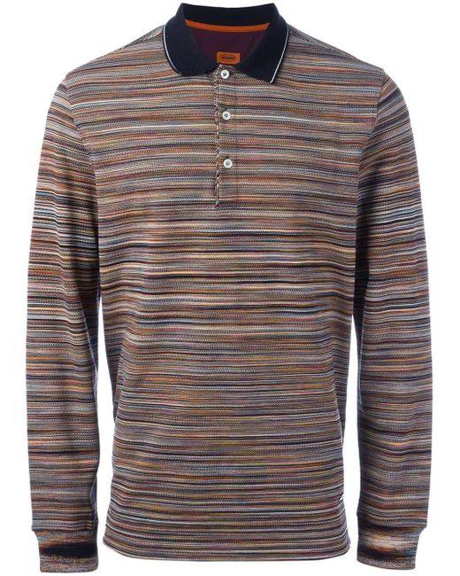 missoni striped polo shirt in gray for men lyst