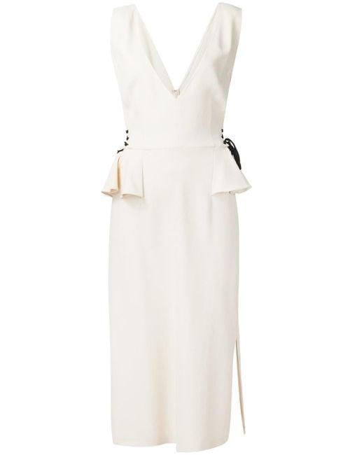 TOME | White 'stretch V-neck Peplum' Dress | Lyst