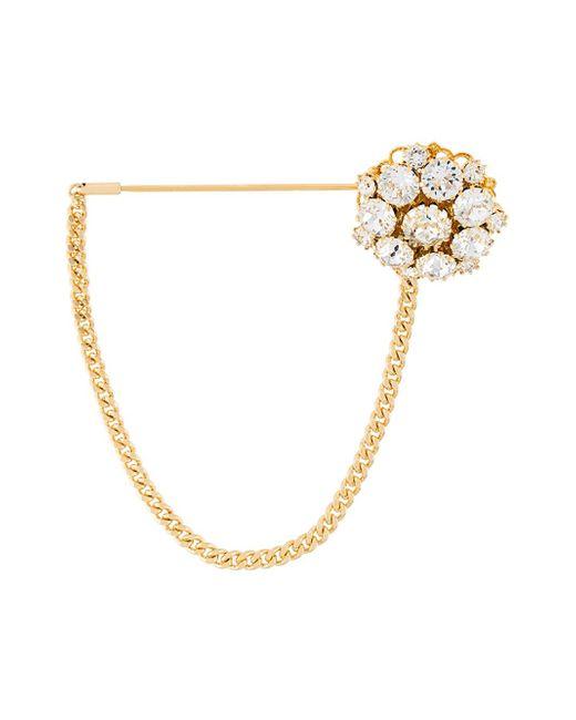 Dolce & Gabbana | Metallic Crystal Brooch | Lyst