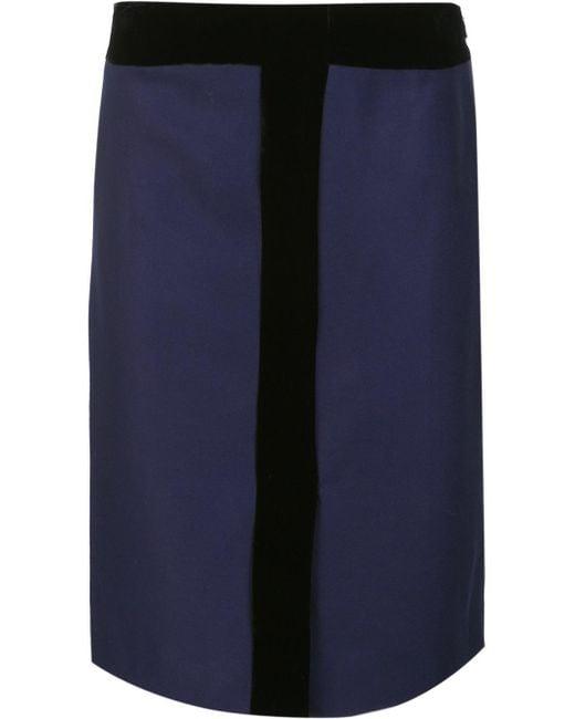 carolina herrera velvet detail pencil skirt in blue lyst