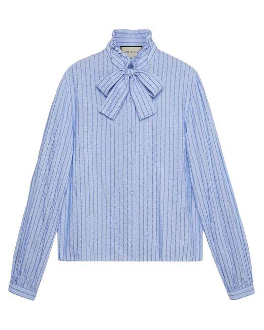 Gucci ピンストライプ ボウタイシャツ Blue