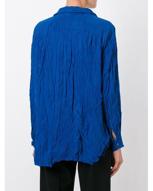 issey miyake wrinkle effect shirt in blue lyst