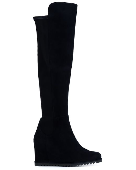 stuart weitzman more wedge boots in blue lyst