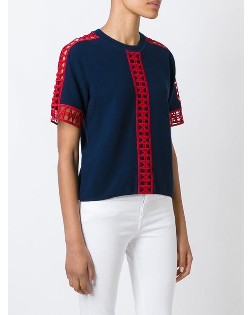 Tory burch 39 rose mary 39 t shirt in blue lyst for Tory burch t shirt