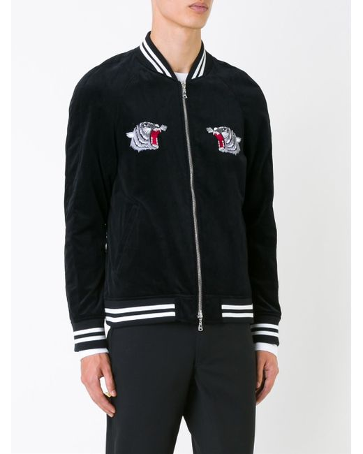 Guild Prime Embroidered Back Bomber Jacket In Black For