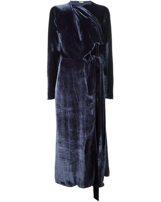 Attico Ali Velvet Robe Dress In Blue Lyst