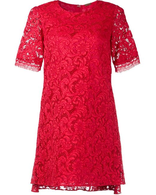 Adam Lippes | Red Back Pleat Short Sleeve Dress | Lyst