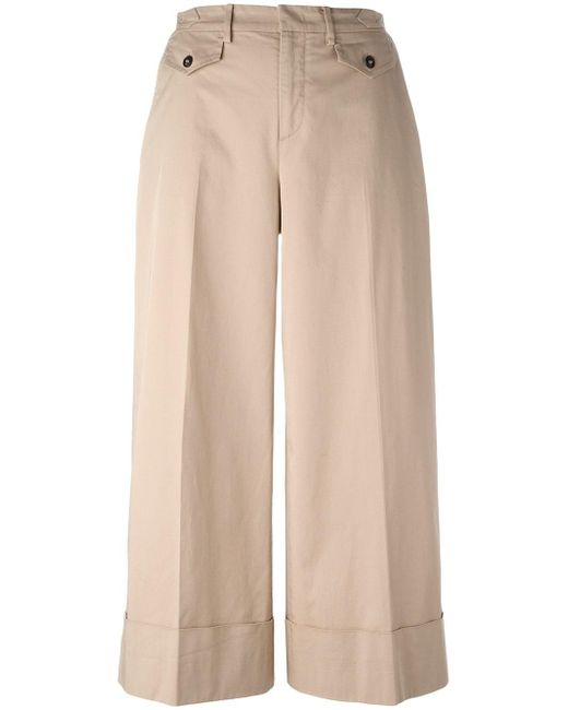 N°21 | Natural Wide-legged Cropped Trousers | Lyst
