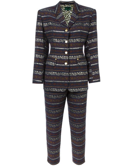 jean paul gaultier two piece patterned trouser suit in blue lyst. Black Bedroom Furniture Sets. Home Design Ideas