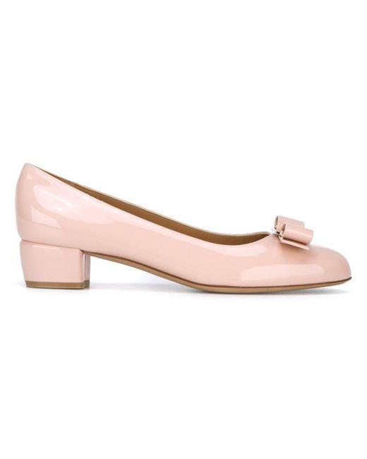 Ferragamo - Pink Vara Patent-leather Pumps - Lyst