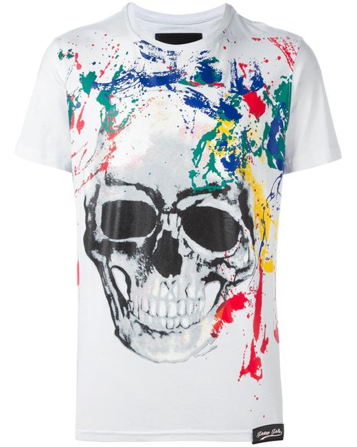 philipp plein painted skull print t shirt in white for men. Black Bedroom Furniture Sets. Home Design Ideas