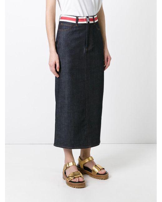 Victoria Victoria Beckham Denim Open Back Skirt In Blue
