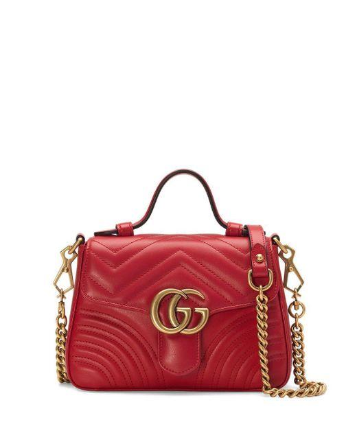 Gucci グッチ公式〔GGマーモント〕ミニ トップハンドルバッグハイビスカスレッド シェブロン レザーcolor_descriptionレザー Red