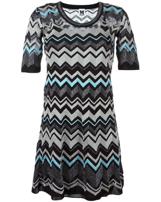 M Missoni | Black Zig Zag Pattern Dress | Lyst