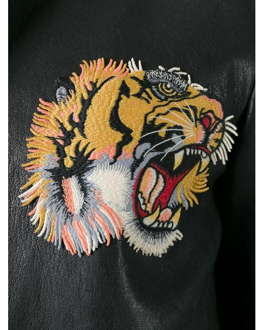 Gucci Tiger Embroidered Bomber Jacket In Black For Men  Lyst