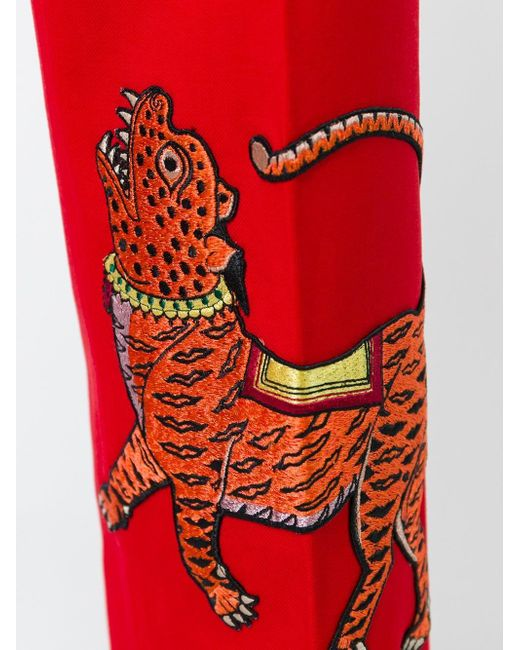 Gucci Embroidered Tiger Trousers In Red  Lyst