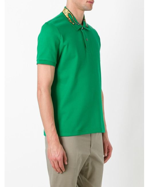 Gucci Tiger Embroidered Polo Shirt In Green For Men Lyst