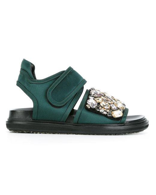 Marni | Green - Embellished Fussbett Sandals - Women - Silk/lamb Skin/viscose/glass - 35 | Lyst