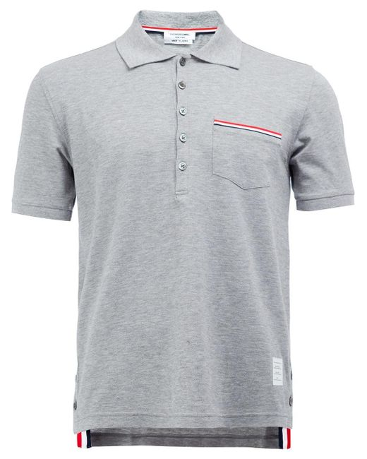 Thom browne classic polo shirt in gray for men lyst for Thom browne shirt sale
