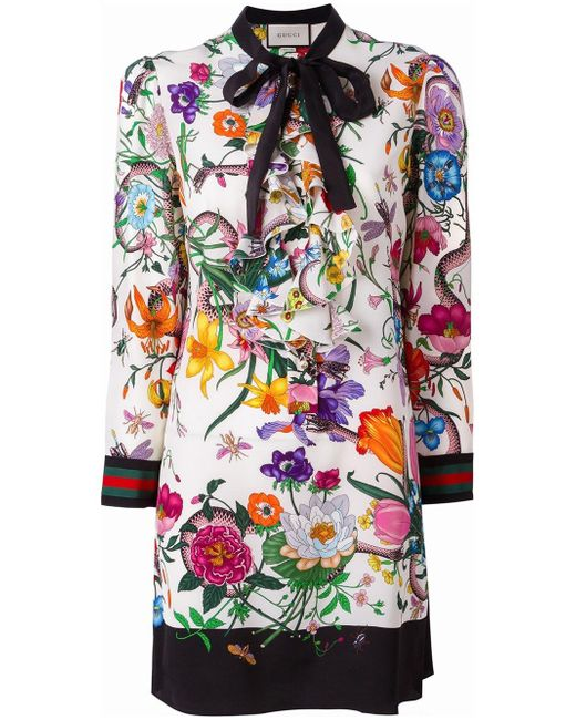 Gucci   Multicolor Floral Snake Print Dress   Lyst