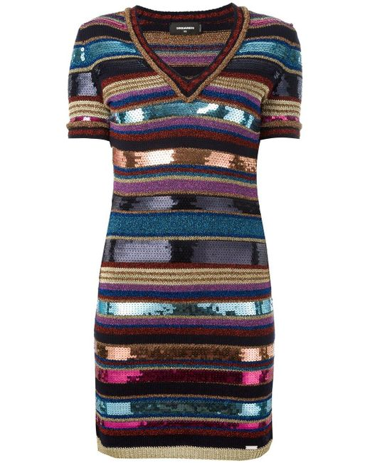 DSquared² | Blue - Striped Knit Sequin Dress - Women - Polyester/viscose/wool/polyimide - Xs | Lyst