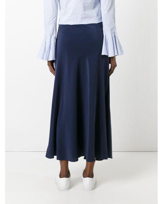 cedric charlier side split midi skirt in blue lyst