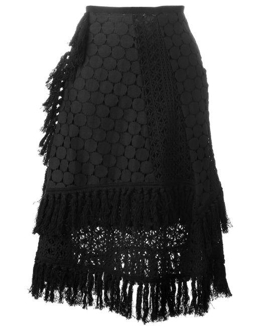 See By Chloé   Black Crochet Layered Skirt   Lyst