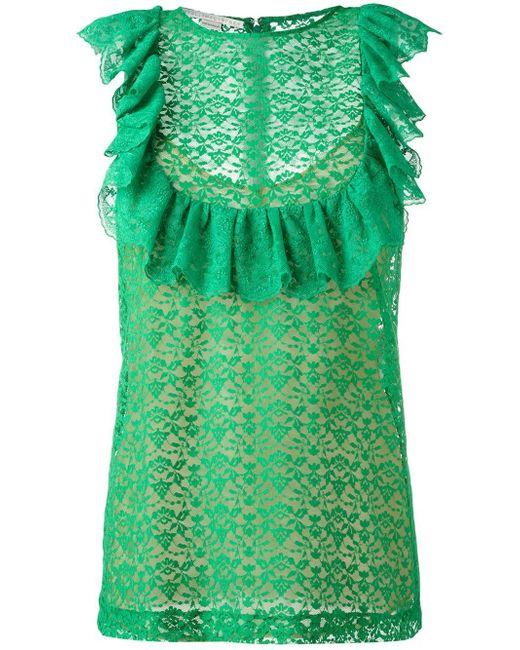Stella McCartney | Green Flounce Sleeveless Blouse | Lyst