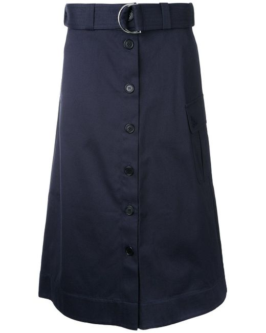 Markus Lupfer | Blue Belted Button Skirt | Lyst